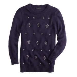 <jcrew> Jeweled-cluster sweater in navy